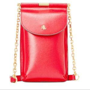 Ralph Lauren Coral Leather Phone Case Crossbody